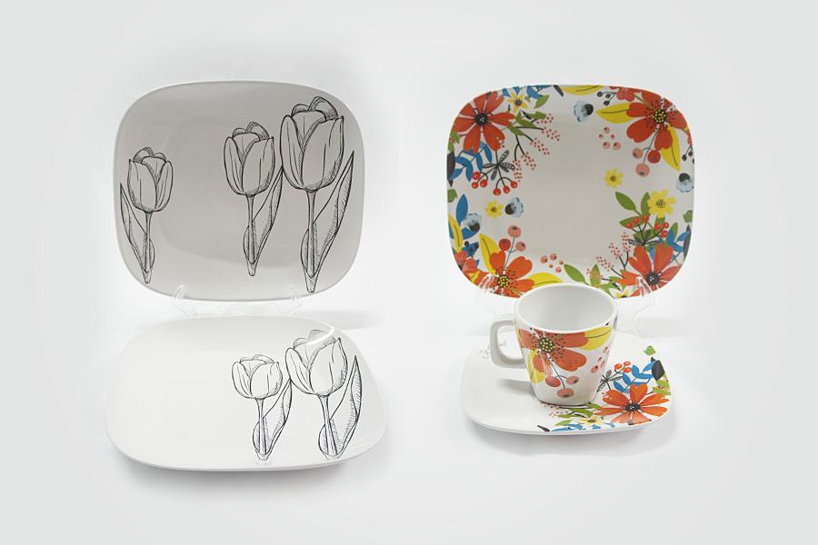 Pratos e conjuntos em porcelana impressa